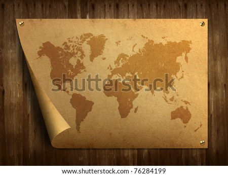 World map on old paper. Stuck on the old wooden floor. - stock photo