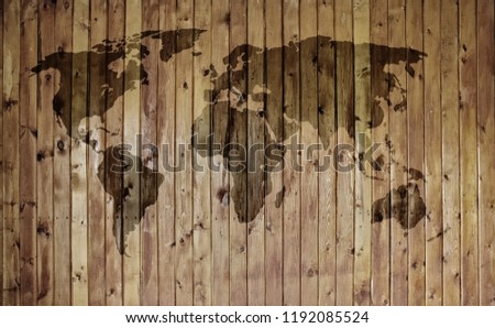 Grunge vintage wooden plank world map background. Images and Stock ...