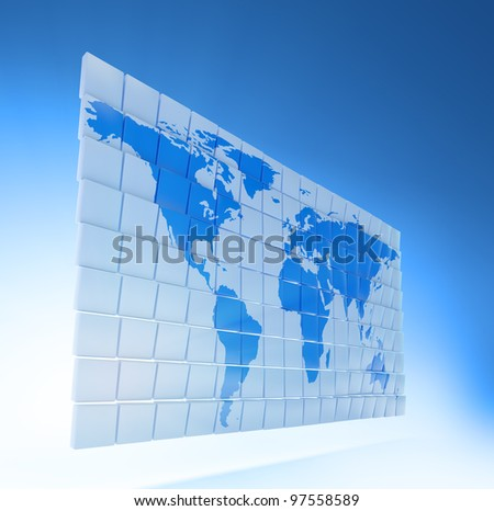 World map on small 3D panels