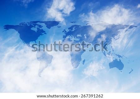 World map on sot focused blue sky backgrounds