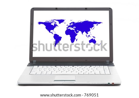 world map on the screen of notebook