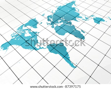 World map on white tiles