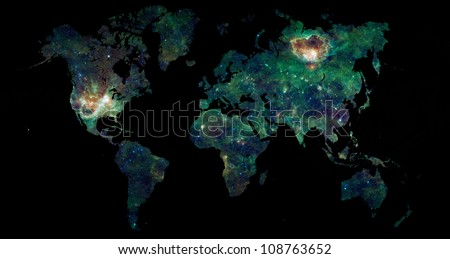 World map over black with a galaxy filling the map of Earth, science and space exploration concept