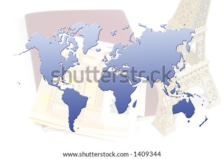 world map over eiffel tower, euro bills, and passport