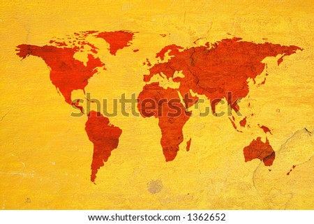 world map over textured background