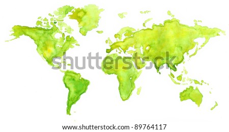World map painted with watercolors in green color