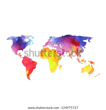 World map painted with watercolors, painted world map.
