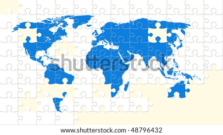 World map puzzle with missing pieces