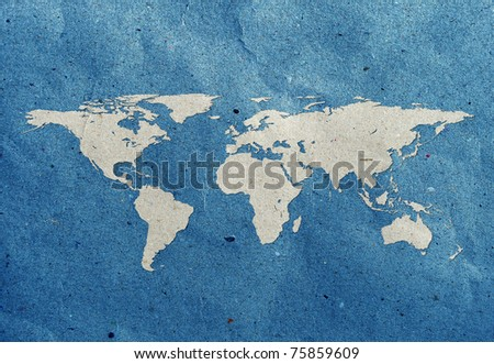 world map recycled paper craft  stick on old recycled background Data source: NASA