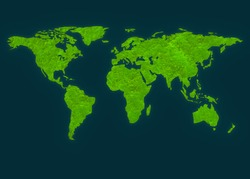 world map shape with green moss plant and shadow design for green earth concept