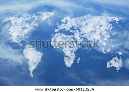 World map shaped clouds in the blue sky