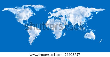 World map shaped clouds in the blue sky - stock photo