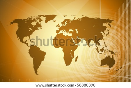 world map techno background done in ancient map color scheme