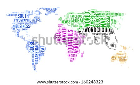 world map text cloud on isolated background