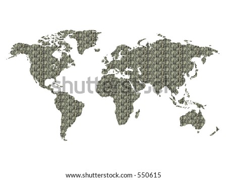 World map, textured with USA dollars presidents portraits. Isolated on the white.