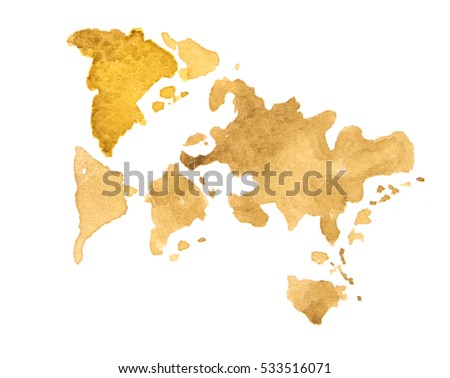World Map watercolor, abstract. Not a real map of the world for the ...