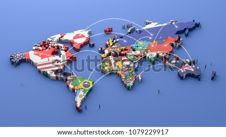 World map with all states and their flags,3d render Photo stock ©