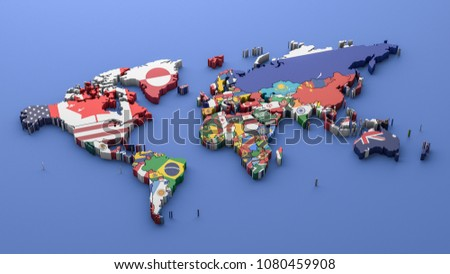 World map with all states and their flags,3D rendering