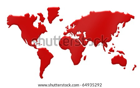world map with blood illustration - stock photo