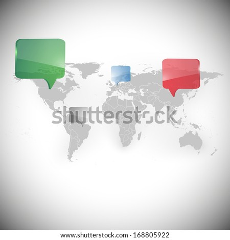 World map with dialog boxes background illustration