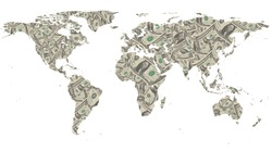 World map with  dollar  isolated on black.