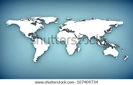world map with extrude continents