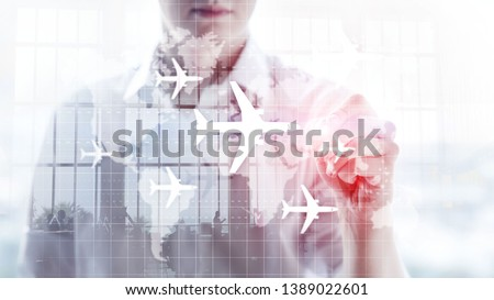 World map with flight routes airplanes. Global Aviation Business Tourism. Double exposure background. #1389022601