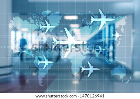 World map with flight routes airplanes. Global Aviation Business Tourism. Double exposure background #1470126941
