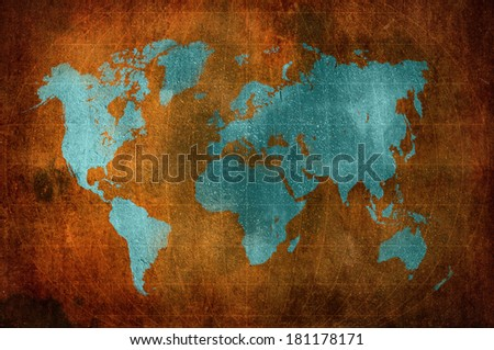 world map with Latitude and Longitude lines in grunge style
