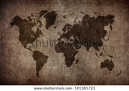 world map with Latitude and Longitude lines in vintage style