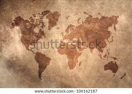 world map with Latitude and Longitude lines on vintage leather skin