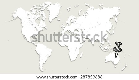 World map with pin in Australia #287859686