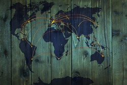 world map with telecommunications on a wooden texture