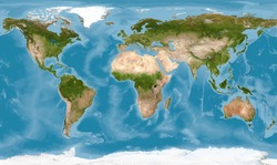 World map with texture in global satellite photo, Earth view from space. Detailed flat map of continents and oceans, panorama of planet surface. Elements of this image furnished by NASA.