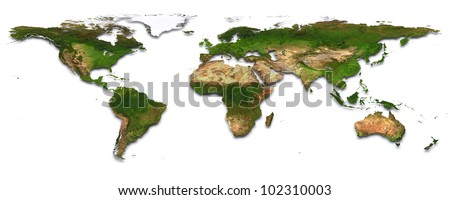 World map with topography. 3d image. The Earth texture of this image furnished by NASA. (http://visibleearth.nasa.gov/view_rec.php?id=2430)
