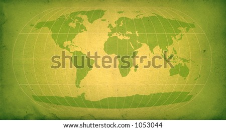 world map with vintage texture in green