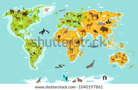 World map with wildlife animals illustration. Animals planet concept, world continents with flora and fauna. Giraffe, elephant, monkey, zebra, bear, turtle, whale, walrus, penguin, lynx, panda