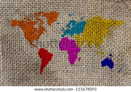 World Map, World background on Burlap