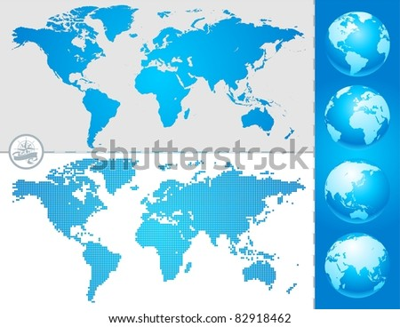 World maps and globe