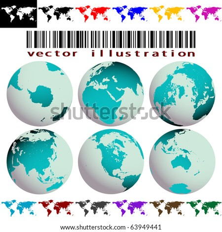 world maps and globes against white background, abstract art illustration; for vector format please visit my gallery - stock photo