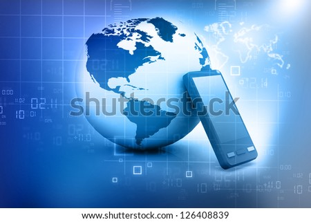 World Modern communication technology illustration with mobile phone and high tech background