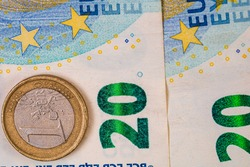 World money concept, macro detailed on a 20 Euro banknote, macro photo of EURO currency