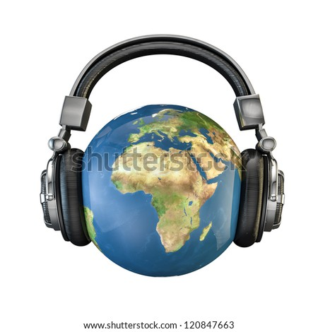 World music 3D render of planet Earth with headphones, Earth map texture source: cinema4dtutorial.net