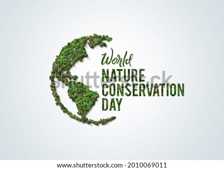 World Nature Conservation Day concept. Green World Map- 3D tree or forest shape of world map isolated on white background. Green Planet Earth Day or Environment day Concept. World Forestry Day.