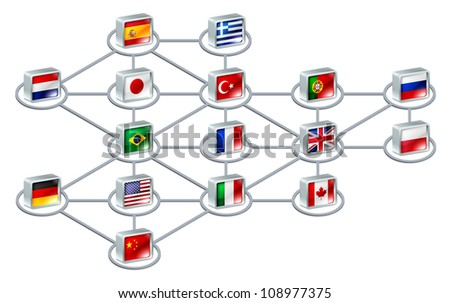 World network concept of connections between different countries or of an international team