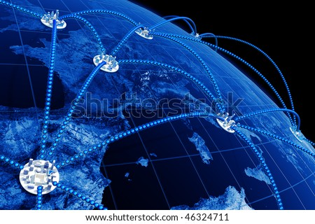 World network. Hi-res digitally generated image.