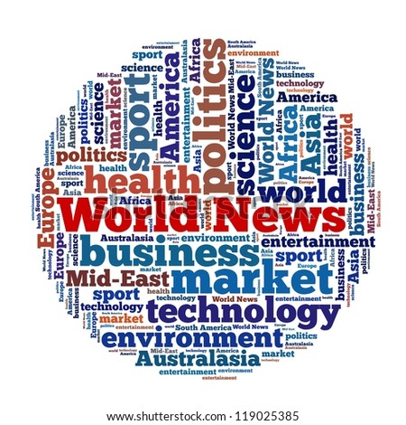World news in word collage