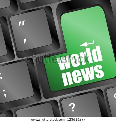world news key on keyboard concept, raster