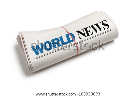 World News, Newspaper roll with white background