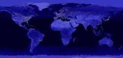World night electric lights map.  View from outer space. City illumination on the Earth planet.  Panoramic image. Elements of this image are furnished by NASA